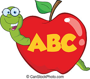 feliz, manzana, rojo, gusano