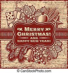 feliz, marrom, cartão natal, retro