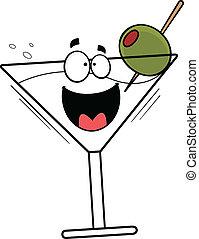 feliz, martini, caricatura