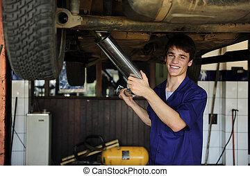 feliz, mecânico carro, no trabalho