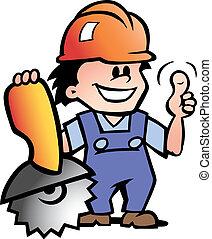 feliz, mecânico, ou, handyman