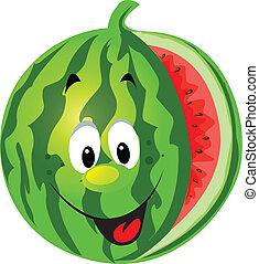 feliz, melón, caricatura