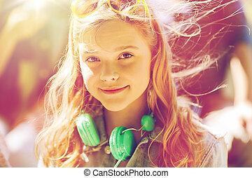 feliz, menina adolescente, com, fones