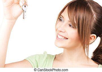 feliz, menina adolescente, com, teclas