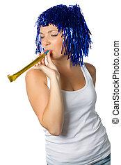 feliz, menina, com, azul, peruca, pronto, para, partido