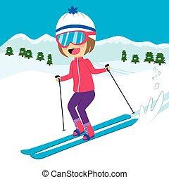 feliz, menina, esquiando