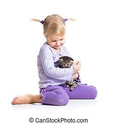 Feliz, menina, gatinho, criança