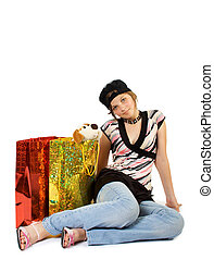 feliz, menina jovem, com, bolsas para compras