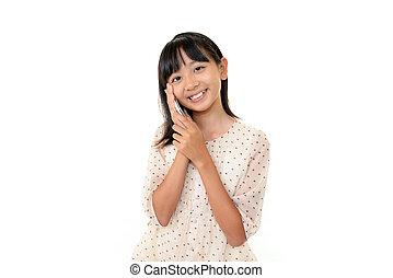 feliz, menina jovem, com, telefone móvel