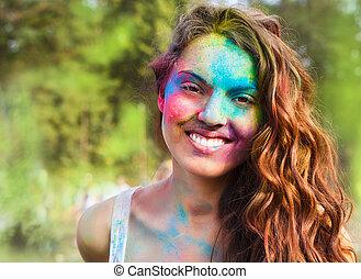 feliz, menina jovem, ligado, holi, cor, festival