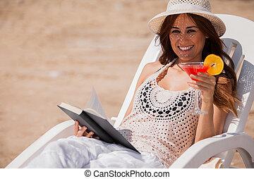 feliz, menina, relaxante, praia