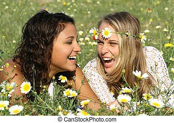 feliz, meninas, rir, com, perfeitos, branca, direito, dentes
