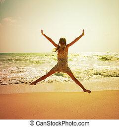 feliz, menininha, tocando, ligado, praia