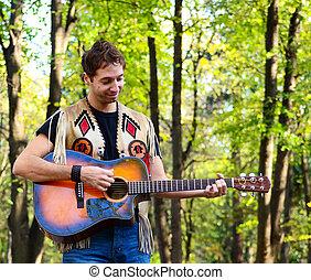 feliz, menino adolescente, violão jogo