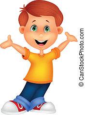 feliz, menino, caricatura, posar