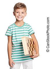 feliz, menino, com, chessboard
