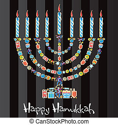 feliz, menorah, galleta, hanukkah