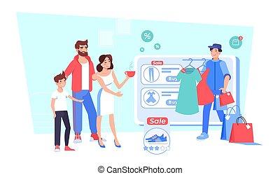 feliz, moda, familia , boutique, ir de compras en línea directa