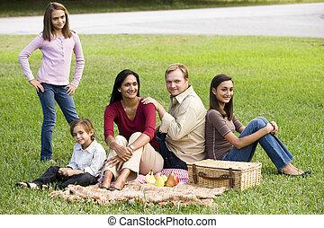 feliz, moderno, multicultural, familia , el gozar, un, picnic