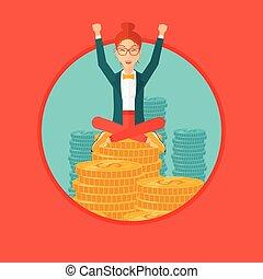 feliz, monedas., corporación mercantil de mujer, sentado