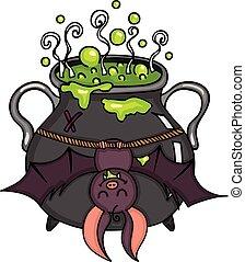 feliz, morcego, penduradas, dia das bruxas, cauldron