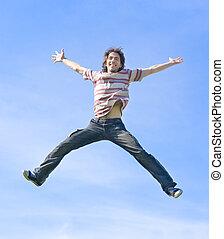 feliz, mosca, alto
