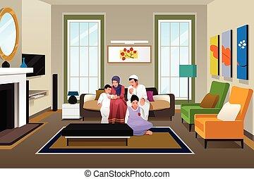 feliz, muçulmano, família, casa