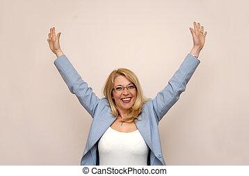 feliz, mujer de negocios