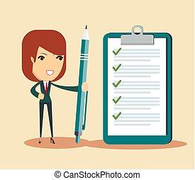 feliz, mujer de negocios, sujetar una pluma, y, el mirar, completado, checklist.