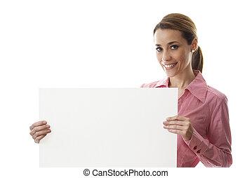 feliz, mujer de negocios, tenencia, cartelera, con, texto,...