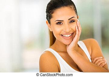 feliz, mujer joven, retrato