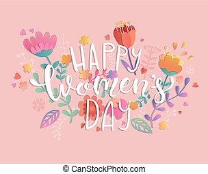 feliz, mujeres, día, con, handdrawn, lettering.
