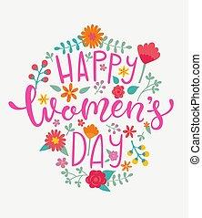 feliz, mujeres, día, tarjeta, handdrawn, lettering.