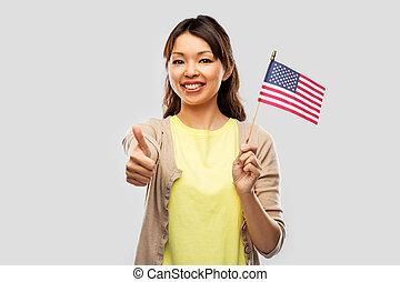 feliz, mulher americana, bandeira, asiático