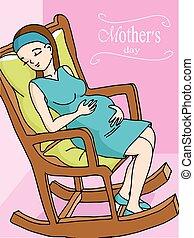 feliz, mulher grávida, relaxante, ligado, balancim, cadeira