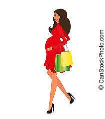 feliz, mulher grávida