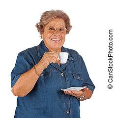 feliz, mulher idosa, café bebendo