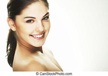 feliz, mulher jovem, branco, fundo