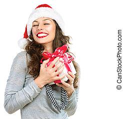 feliz, mulher jovem, com, presente natal, caixa