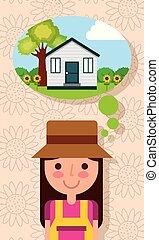 feliz, mulher jovem, pensando, em, casa, com, jardim, árvore, flores