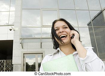feliz, mulher negócio