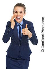 feliz, mulher negócio, compartilhando informação, e, mostrando, polegares cima