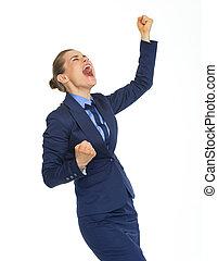 feliz, mulher negócio, rejoicing, rejoicing, sucesso