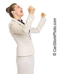 feliz, mulher negócio, rejoicing, sucesso