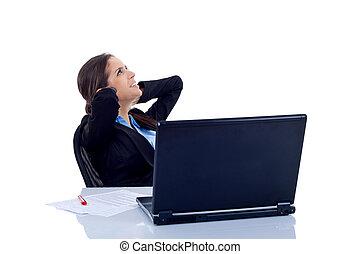 feliz, mulher negócio, relaxe, em, escritório
