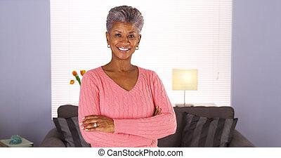feliz, mulher sênior, africano