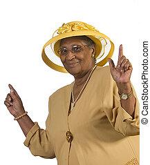 feliz, mulher velha, dançar