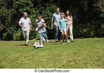 feliz, multi, generación, familia , jugar al balompié