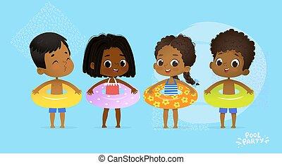 feliz, multicultural, amigo, piscina, fiesta., internacional, carácter, con, azul, amarillo, y, naranja, anillo, en, diversión, mar, resort., afro estadounidense, niños, relajar, vacaciones del verano, plano, caricatura, vector, illustration.