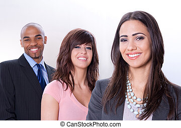 feliz, multiracial, equipo negocio